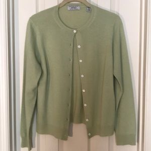 Lord &Taylor Cashmere Lt Green Cardigan